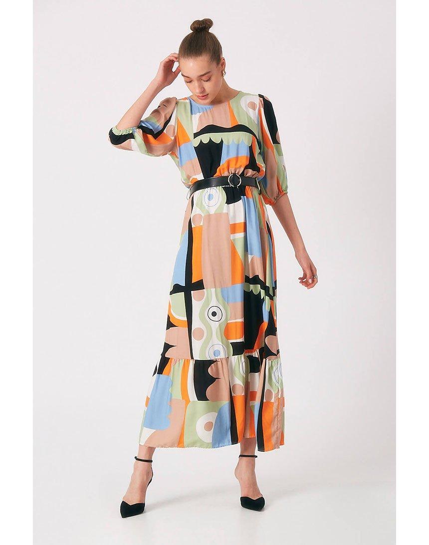 Літня сукня Robin в етностилі з широким воланом блакитна TurkStyle