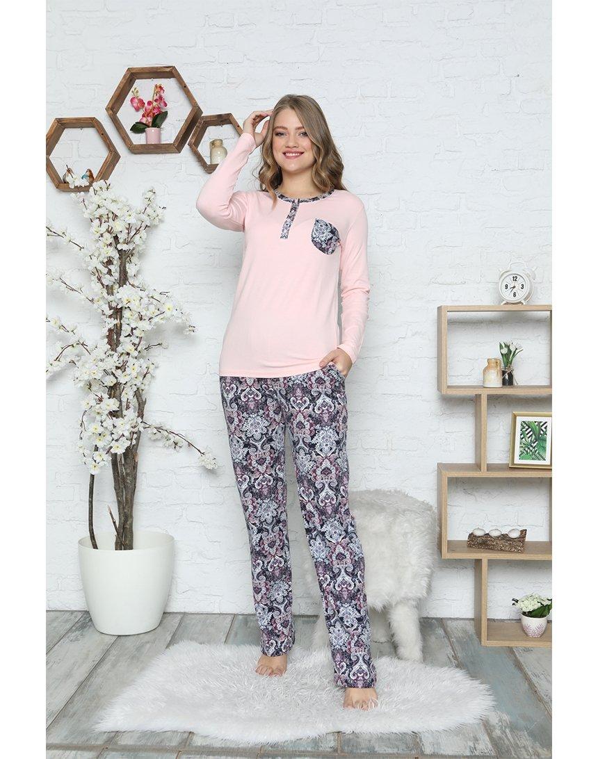 Домашній комплект Alimer з футболки з довгими рукавами і брюк з орнаментом рожевий (2555) TurkStyle